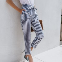Steal The Show Striped Pocketed Cotton Pants - Blue