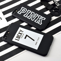 Phone Case for iPhone 6 7 Candy Black Pink Color soft TPU Rubber Silicone Case Cover for 7 6s Plus Back Cover Lucky Toady