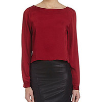 Alythea Long-Sleeve Crop Top - Burgundy