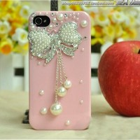 cute Pearl rhinestone diamond bowknot handmade iphone4/4s case-pink