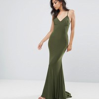 Club L Strappy Back Maxi Dress With Fishtail at asos.com