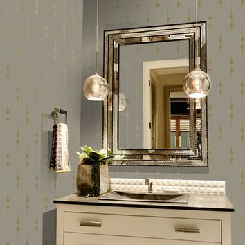 Tempaper® Shimmer Taupe & Metallic Gold Leaf Self-Adhesive Wallpaper