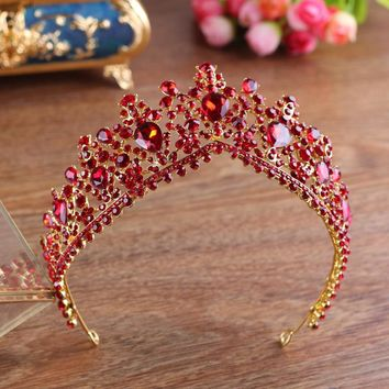 New Fashion Bridal Tiaras and Crowns full RED Crystal Rhinestone Gold Color