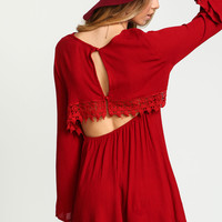 Red Crochet Crepe Bell Sleeves Dress