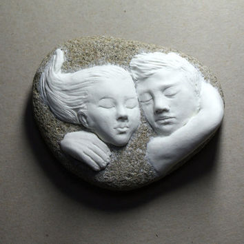 Lovers written on the stone! OOAK air dry stone clay sculpture on river stone, one of a kind sculpture of embracing lovers. Valentine's gift