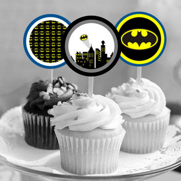 """Batman Superhero - Download 2.25"""" Cupcake Toppers, Printable Birthday Party Gift Tags, Toppers, Boy Girl Stickers, Gift Tags - Dorothy Ruby"""