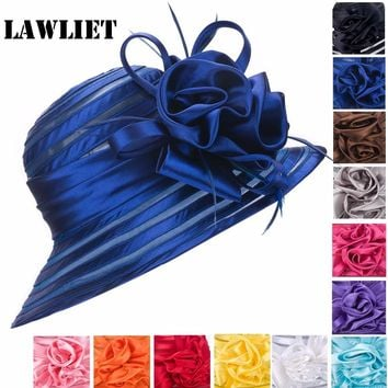 Women Fedoras Hats Polyester Satin Feather Church Wedding Kentucky Derby Hat Women Summer Hats Solid Female Sun Cap A214