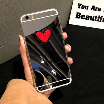 Fashion Clear Mirror Case For iphone 7 6 6S 5 5s SE Plus Fundas Cute DIY Stitches Love Heart Cover Soft TPU Plating Phone Cases
