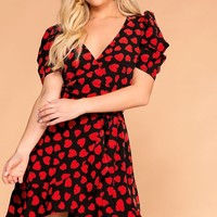 Heart Of Hearts Ruffle Wrap Dress