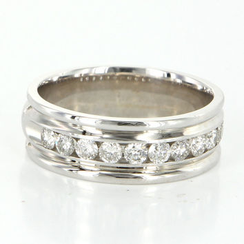 Vintage 14 Karat White Gold Diamond Mens Wedding Band Ring Sz 11 Estate Jewelry