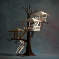 Tiki Tree House Architectural Laser Cut Model Kits - New Product Line Development by Thomas Houha Designs