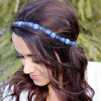 "Pink Pewter ""Deanna"" Blue Beaded Stretch Band Headband Hair Jewelry"