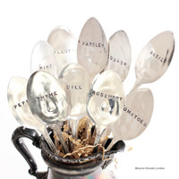 Garden Stampings Herb Markers - 3 Custom Vintage Silver Plate - Plant Markers - Spoon Markers