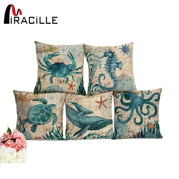 Miracille Sea Turtle Printed Cotton Linen Cushion Cover Marine Ocean Sea Horse Home Decor Pillowcase