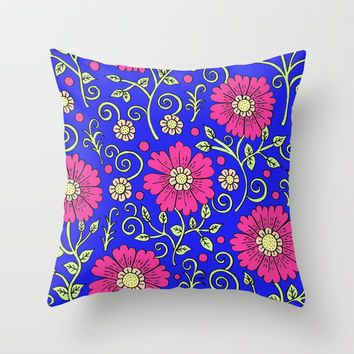 Cobalt Blue Floral Throw Pillow by PeriwinklePeacoat