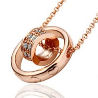 Tiny Circle in Big Circle Rose Gold Plated Necklace