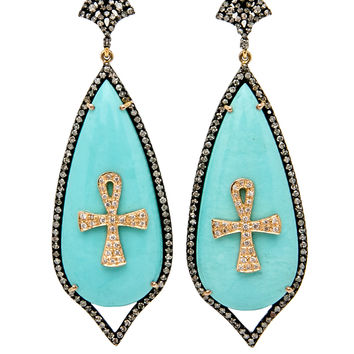 Medium Teardrop Ankh Earrings