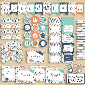 Wild One Tribal Birthday Party Package Boho Arrows and Feathers Navy Orange Teal Diy INSTANT DOWNLOAD Pdf TRB03