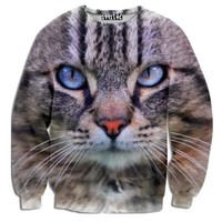 Realistic Kitty Cat Face Graphic Print Unisex Pullover Sweatshirt Sweater | Gifts for Cat Lovers