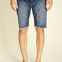 Frayed Denim Shorts Denim Washed