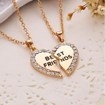 Best of Friends Heart Necklace