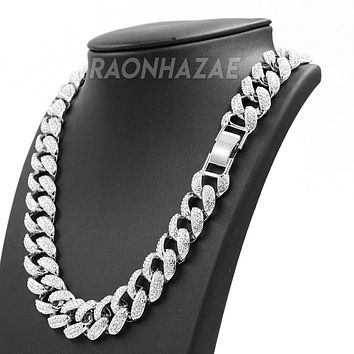 "Hip Hop Fully Iced Mens 18mm Heavy Miami Cuban Chain (Multiple Sizes 9"" - 36"") SILVER"