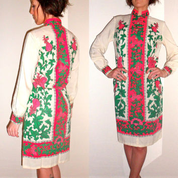 Alfred Shaheen 60's 70's Floral Hand Painted Dress