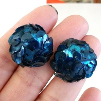 Vtg Art Deco Blue Sequins Screw Back Earrings