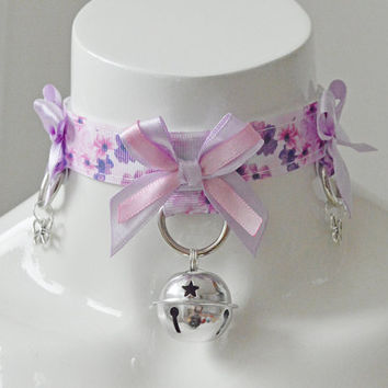 Kitten play collar - Violets field - ddlg princess BDSM proof kawaii cute neko lolita choker with bell and flowers - pink and lilac
