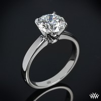 "18k White Gold w/Platinum Head ""Broadway"" Solitaire Engagement Ring"