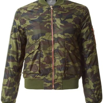 LE3NO Womens Padded Long Sleeve Camouflage Zip Up Bomber Jacket with Pockets