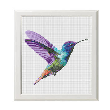 Hummingbird cross stitch pattern, Modern cross stitch pattern, watercolor hummingbird counted cross stitch chart, watercolor bird, nature