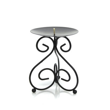 Metal Iron Stand Candle Holder, Black, 5-3/4-inch Tripod