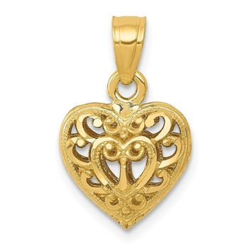 14k Yellow Gold Diamond Cut Filigree Puffed Heart Pendant, 11mm