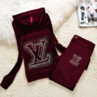 """LV"" New gradient embroider bead piece set auger fashion velvet suit sportswear Wine red"