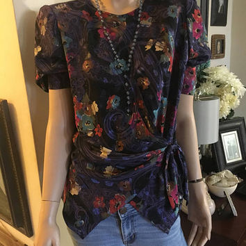 Vintage 1980s Silk Floral Blouse, Purple, Size Large Antique Alchemy