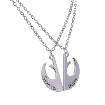 Star Wars Rebel Alliance Lapel Pin Rebel Badge Emblem Pendant I Love You I Know Lover's Couple Necklace Movie Jewelry