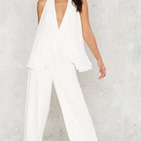 Nasty Gal Cape Bod Plunging Jumpsuit