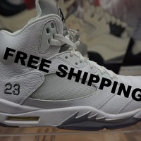 "Air Jordan Retro 5 ""White Metallic"" Basketball Sneaker  AJ5"