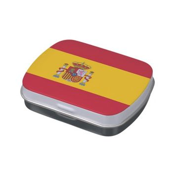 Patriotic candy tins with Flag of Spain