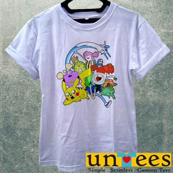 Low Price Women's Adult T-Shirt - Pokemon Adventure Time Parody design