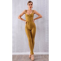 Live Wire Sleeveless Cross Wrap V Neck Tie Waist Skinny Bodycon Bandage Jumpsuit