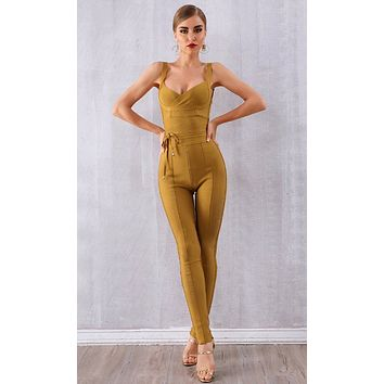 Live Wire Sleeveless Cross Wrap V Neck Tie Waist Skinny Bodycon Bandage Jumpsuit - 4 Colors Available