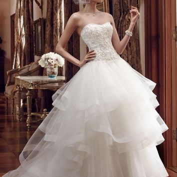 Casablanca Bridal 2199 Strapless Drop Waist Ball Gown Wedding Dress