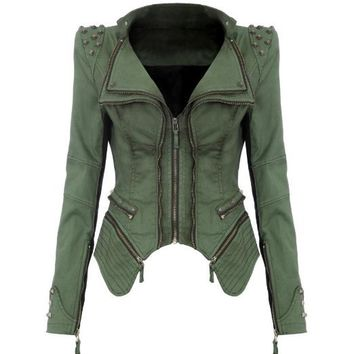 Lookbookstore Studded Shoulder Notched Lapel Denim Coat Blazer Jacket Green US 4 - US 6