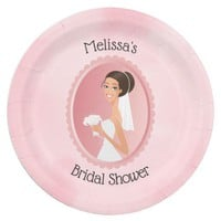 Bride in a Veil Holding Flowers Bridal Shower Paper Plate