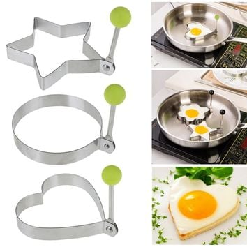 1PC Stainless Steel Omelette Egg Frying Mold Love Round Star Molds DIY Kitchen Egg Pancake Breakfast Cooking Tools
