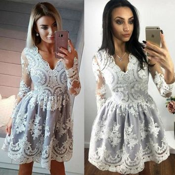 Women Lace Floral Formal V-neck Long Sleeve Dress Prom Evening Party Bridesmaid Wedding