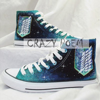 Attack on Titan Hand Painted Shoes canvas shoes sneakers