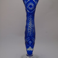 Vintage Bohemian Czech Glass Bud Vase Cobalt Blue Cut to Clear Rare